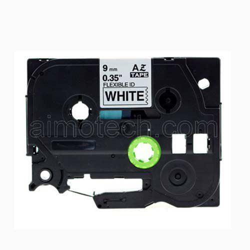 """Brother TZe-FX221 9mm (0.375"""") Black on White Flexible Compatible Label Tape"""