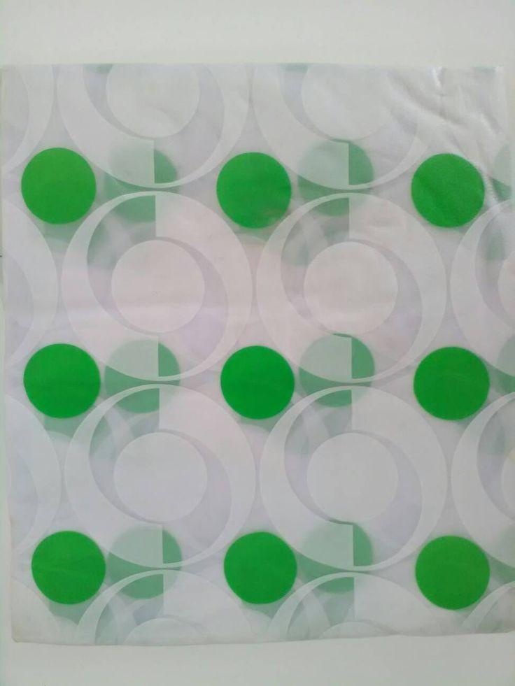 Tenda doccia vintage / Tenda doccia in plastica / Tenda doccia bianca e verde / Tenda bagno / Tende doccia con anelli di VintaFai su Etsy