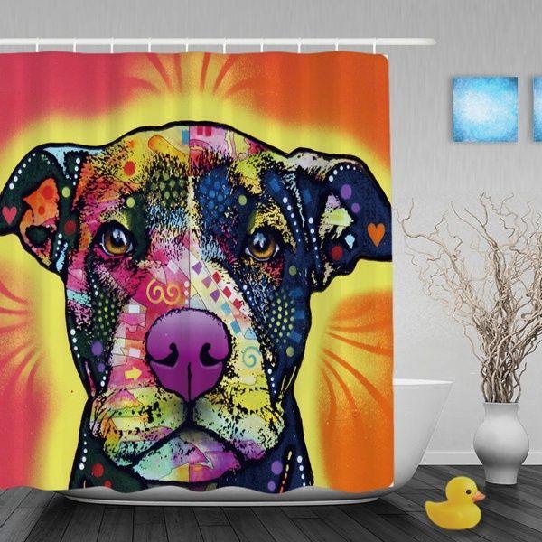 Pitbull Dog Lover Waterproof Shower Curtain Lovely Animal Bathroom Curtains High Quality Home Decor Bath Curtains