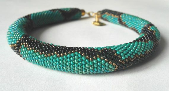 Python green Python necklace bead necklace jewelry beadwork