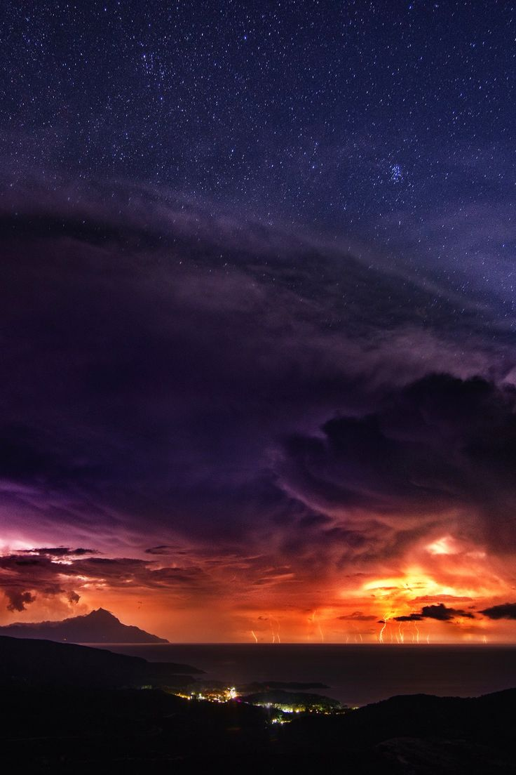 Stormy night at the peninsula of  Chalkidiki in Northern Greece