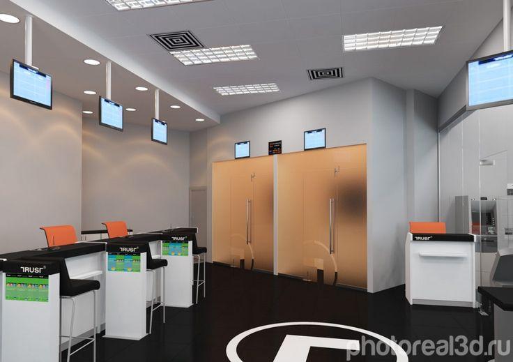 """Визуализация интерьера для банка """"Траст"""" расположенного на Арбате в Москве компанией http://photoreal3d.ru  Bank trast arbat"""