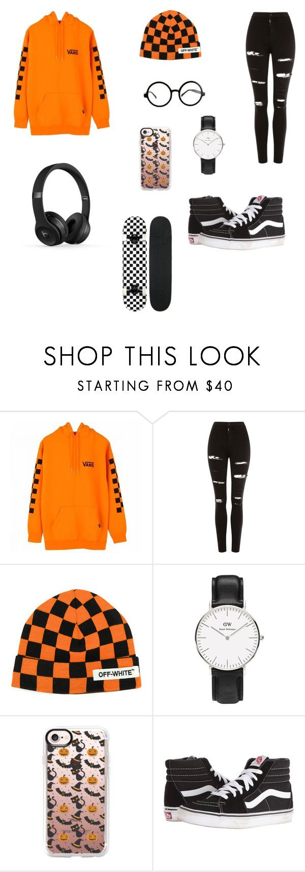 """""""Orange skater"""" by maiwinniethepooh ❤ liked on Polyvore featuring Vans, Topshop, Off-White, Casetify and Beats by Dr. Dre"""