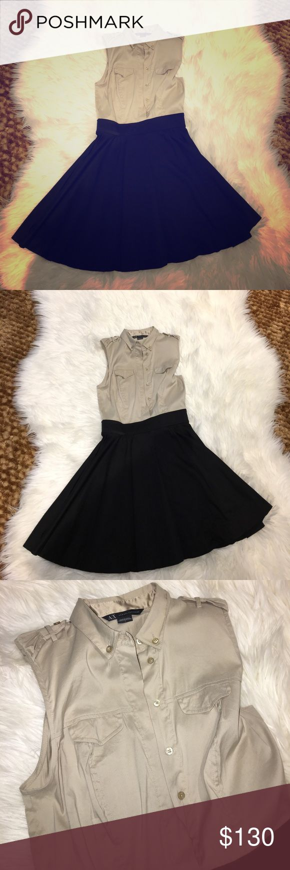 New Office dress Beautiful dress  Looks professional Can be worn out during the day and night Buttons up Zips up from the side Flared look on bottom skirt New Never Worn  ❌No Trades A/X Armani Exchange Dresses Midi