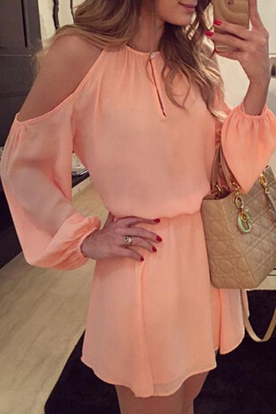 Stylish O Neck Off The Shoulder Long Sleeves Pink Polyester Mini Dress