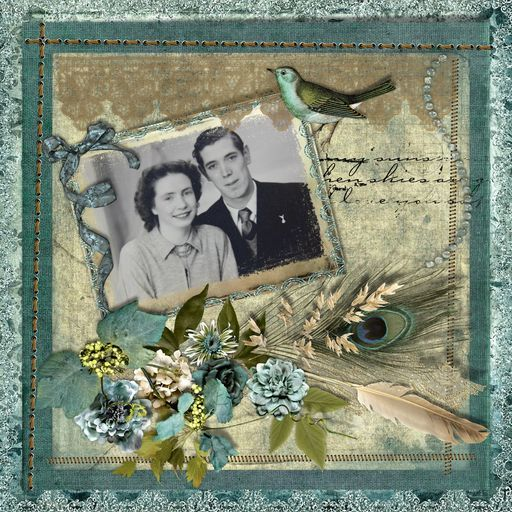 Family - Aunt Pearl and Uncle Bob, a project by slapstick #Daisytrail #CraftArtist #Serif #digital #scrapbooking #craft
