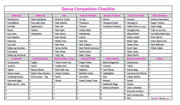 Dance Competition Checklist
