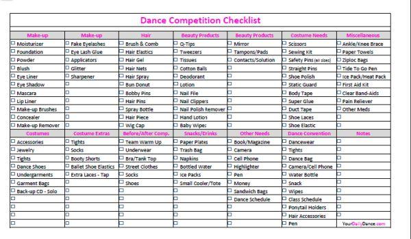 Dance Competition Checklist