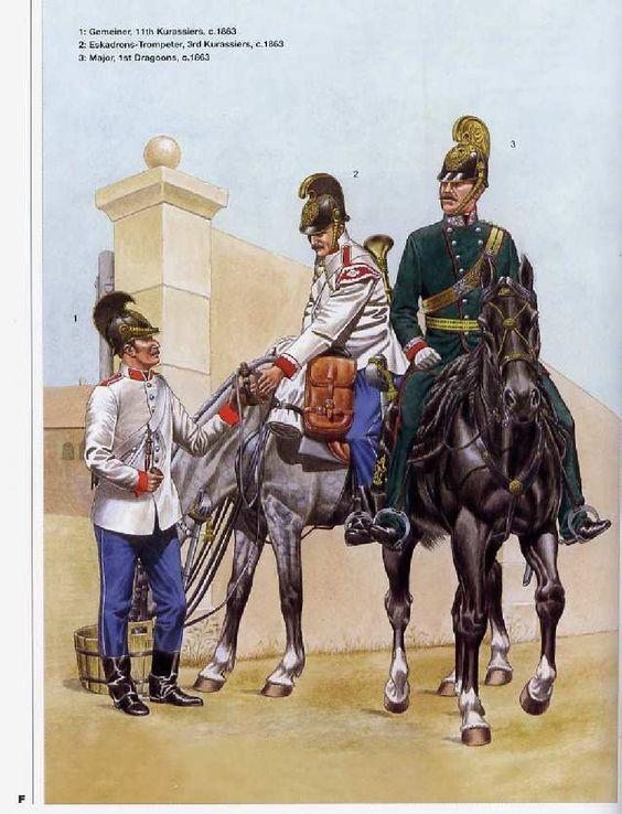 Austria; L to R 11th Cuirassiers, Gemeiner. 3rd Cuirassiers Eskadron Trompeter & 1st Dragoons, Major, 1863