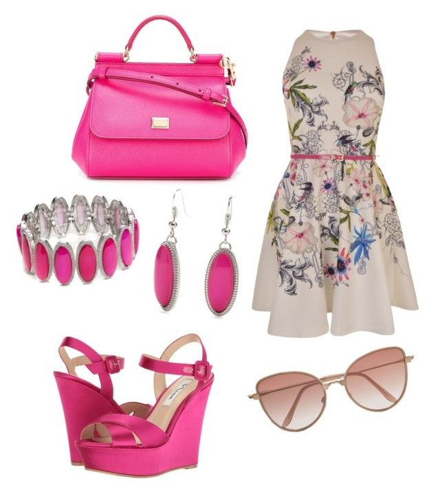 """Pink in summer!"" by fashionxfangirl on Polyvore featuring Ted Baker, Nina, Dolce&Gabbana, Cutler and Gross and New Directions"
