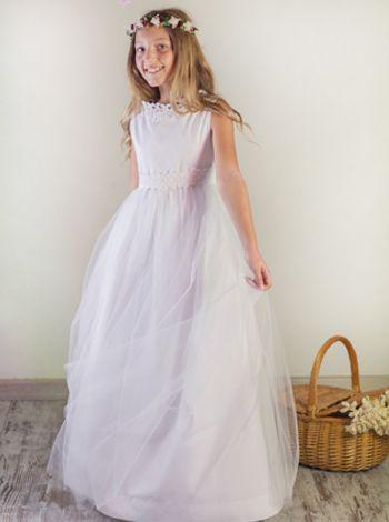 Vestidos de comunión : Vestido de comunión Alice Medieval en batista y tul blanco con aplicaciones de guipur en la cintura