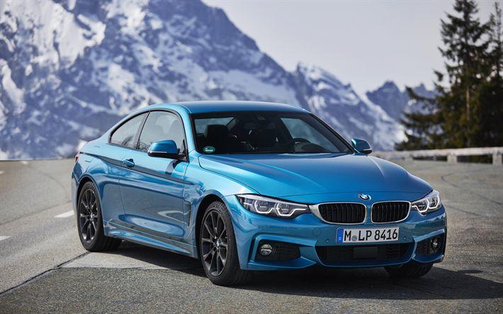 Descargar fondos de pantalla BMW 4, 2017, 4k, sports coupe, azul cielo m4, montañas, carreteras, coches alemanes, BMW