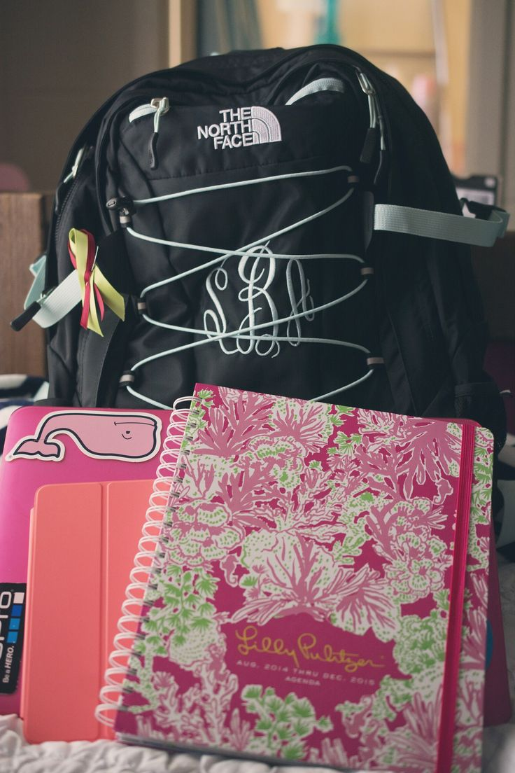 Monogram North Face backpack, Preppy Vineyard Vines, and Lilly Pulitzer agenda. Scholastic heaven.
