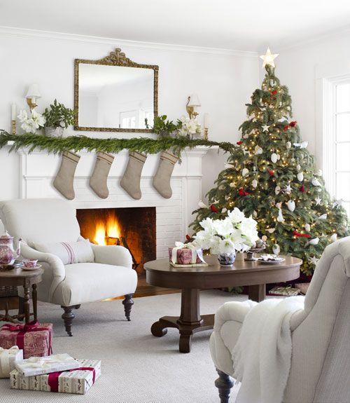 Beautiful White Christmas Living Room Cozy Fireplace Stockings Christmas  Presents Christmas Tree Christmas Decor Christmas Living
