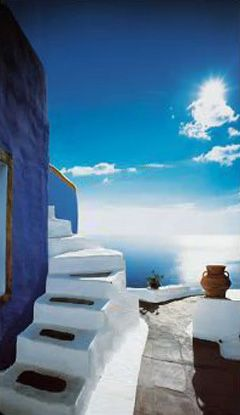 Blue House steps, Oia, Santorini, Greece