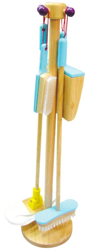 Santoys Wooden Cleaning Set with Stand - $65 A great addition to any home This cleaning set comprises dustpan and brush, sweeping brush and mop. All cleaning items are tidily stored on their own wooden stand The stand measures aprx 80cm x 28cm 3yrs +