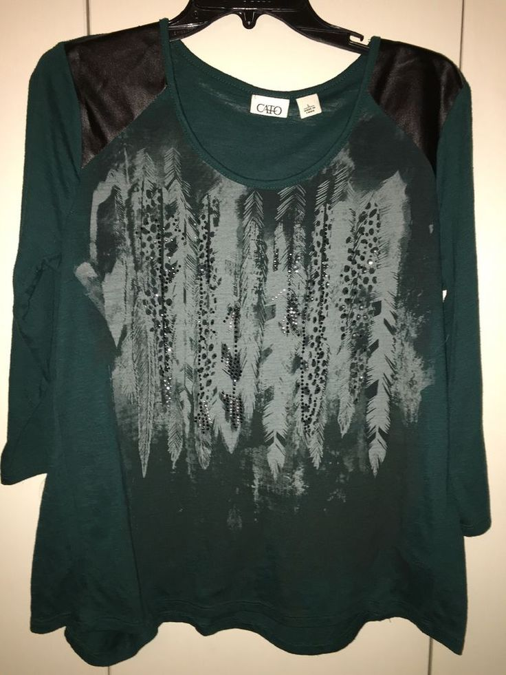 Cato Large Green Embellished Bling Shirt Leather Look Shoulders   | eBay
