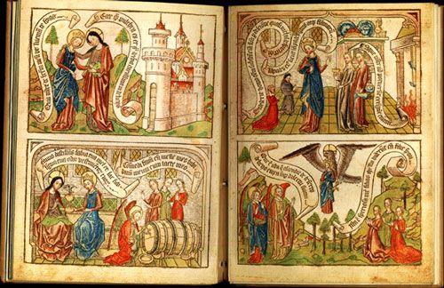 Fig. 5. Canticum canticorum, blockbook, ca.1465, fol. 9v.-10r.