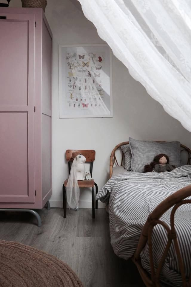 Girls room with striped bedding