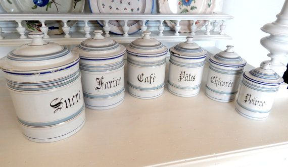 6 French Vintage Enamelware Canisters with Lids Duck Egg Blue and White