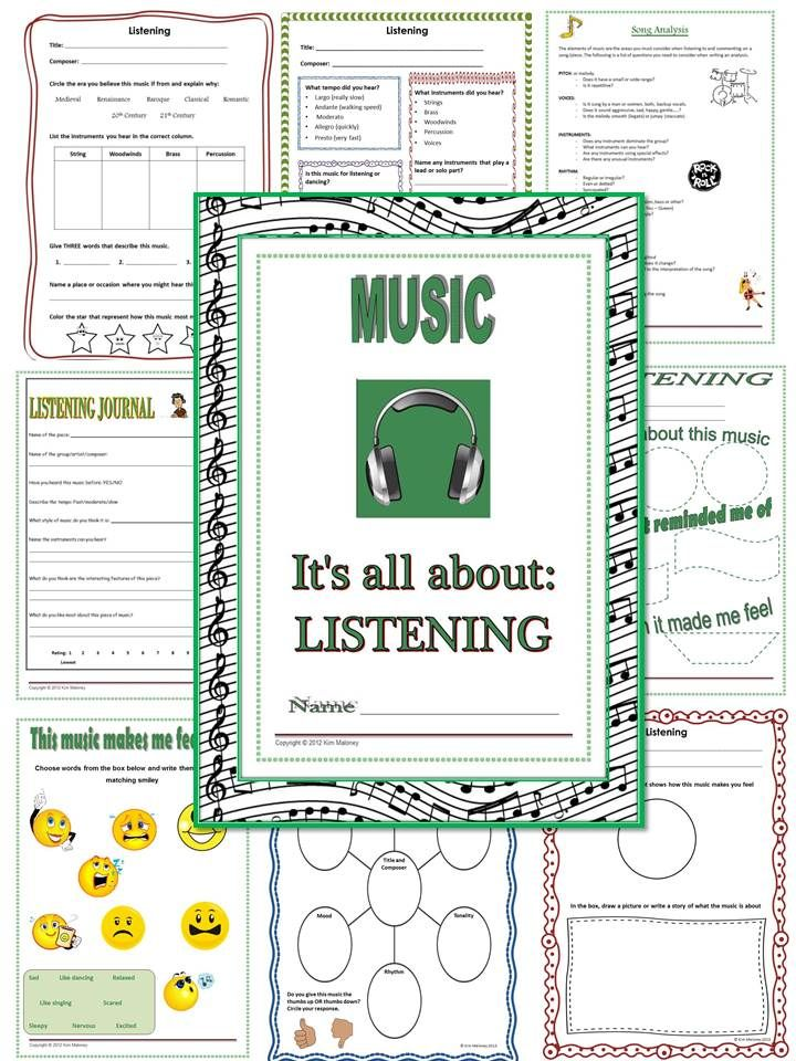 MUSIC LISTENING: 18 pages of activities/worksheets!   $
