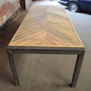 Visgraat sloophout tafelblad
