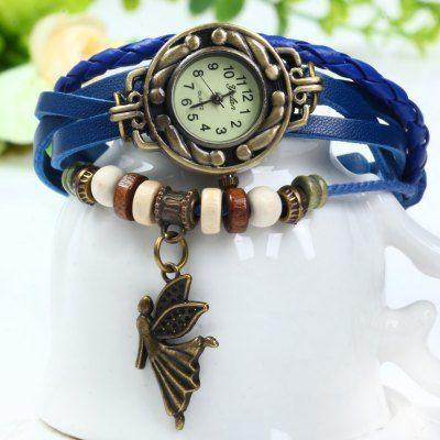Yulan Women Quartz Watch with Weave Wrap Around Leather Strap - BLUE on Storenvy