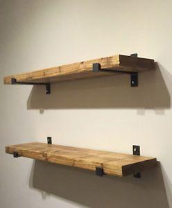 Support d 39 acier fait la main pour tablette bois de - Tablette murale metal ...