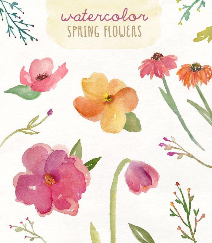 watercolor clip art flowers