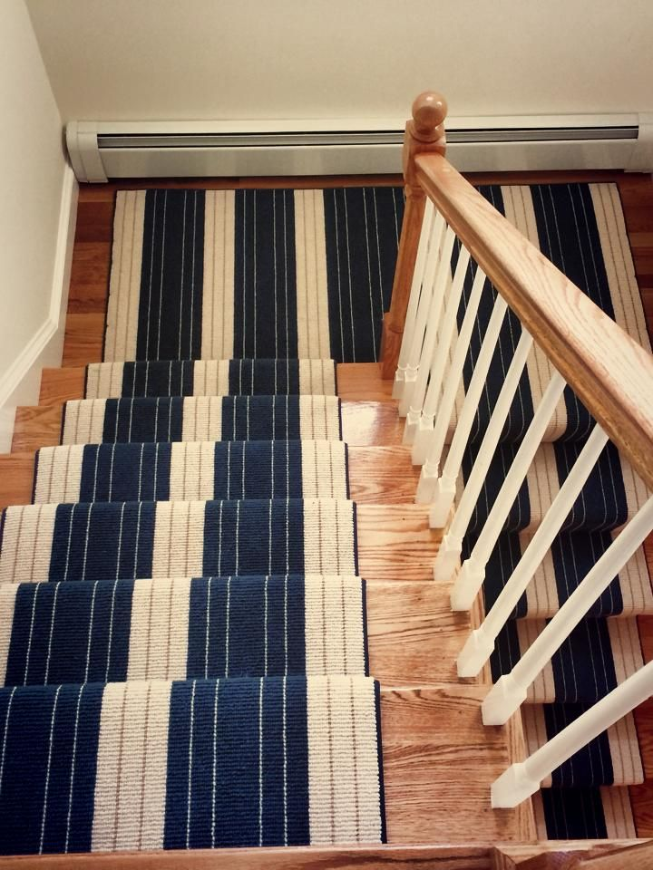 A Navy And White Striped Carpet Remnant Was Turned Into A