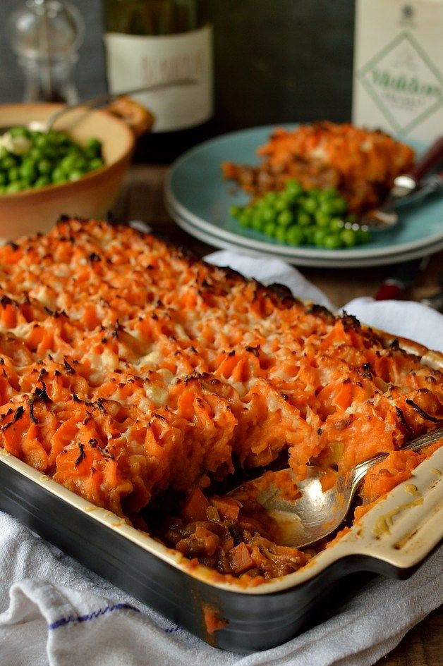 Vegetarian Cottage Pie With Garlic Butter Sweet Potato Mash | This  is a meal that I make fairly regularly as it is so simple, hearty and healthy. Lentils make a great (and very healthy) replacement for meat in a lot of recipes, particularly in warming Winter ones such as stews and pies. @hannahhossack