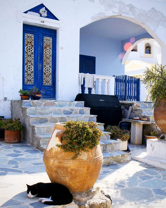 Greece Photography - Santorini Photograph Catnap - Blue and White - Black Cat Print - Greek Wall Art - Travel Photo - Mediterranean Decor