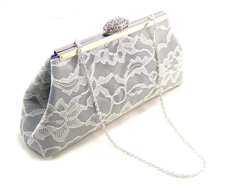 Platinum Grey, Ivory Lace and Plum Purple Wedding Clutch