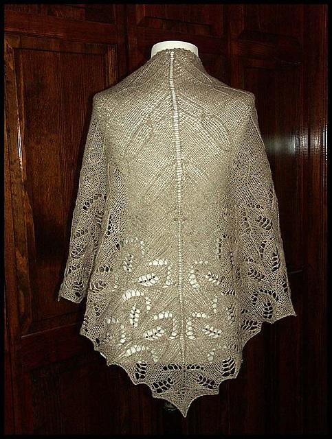 """""""Vinorina"""" knit lace shawl in wool fingering weight yarn (pattern by Kitman Figueroa)"""