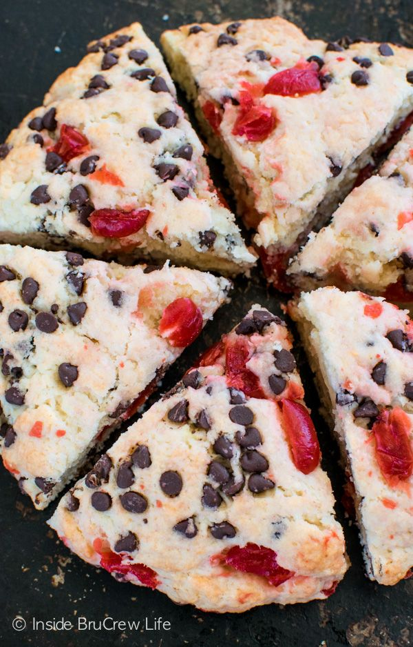 Diced cherries and mini chocolate chips adds a fun flavor to these Cherry Chocolate Chip Scones. Great breakfast recipe!