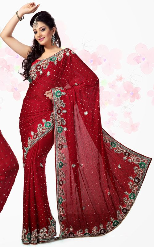 Maroon Color Satin Bollywood Saree TYSE5110. Sale: $203.30