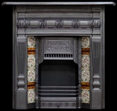 Late Victorian combination grate - iron fireplace