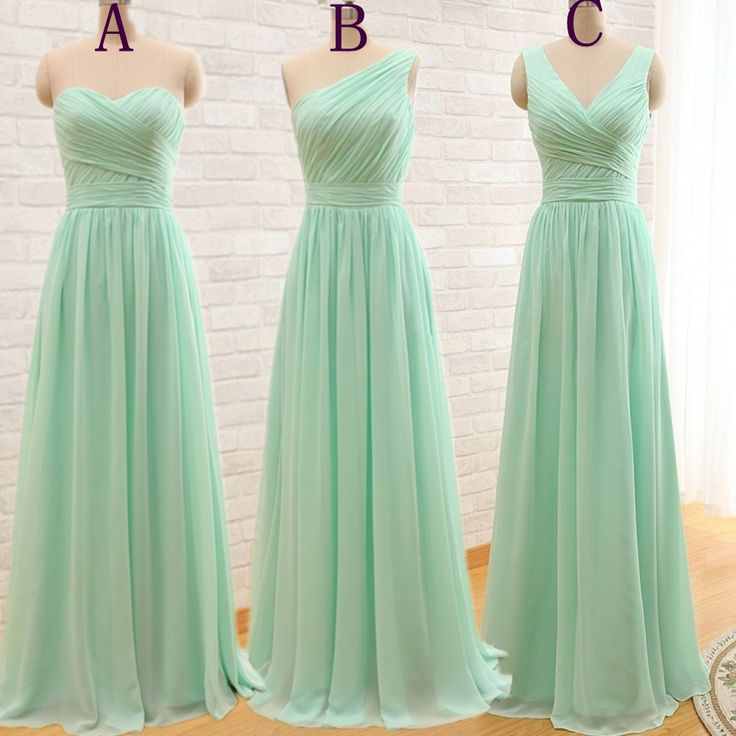 One Shoulder Mint Green Bridesmaid Gown Pretty Prom Dresses Chiffon Simple Under 100mint