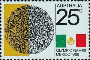 Aztec Calendar and Mexican Flag
