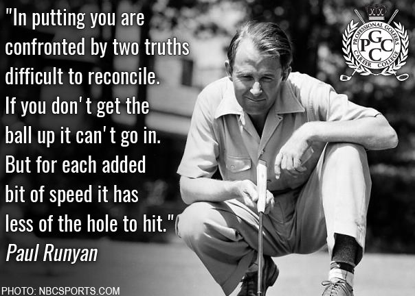 "This week in golf history, Paul Runyan sunk an 8-foot putt to win his first PGA Championship in 1934. Runyan, known as ""Little Poison"" for his amazing short game, amassed a total of 29 PGA Tour victories, most coming in 1933 and '34. He earned the 1934 tour money title, won the PGA Championship again in 1938 and was inducted into the World Golf Hall of Fame. #TBT #GolfHistory #Golf #GolfCollege #PGCCGolf"