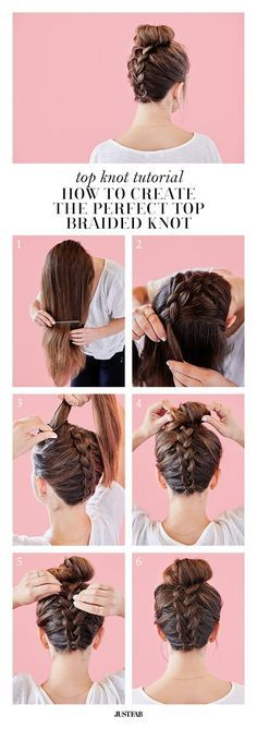 top knot tutorial: how to create the perfect top braided knot | via JustFab  http://blog.justfab.com/2016/04/how-to-create-the-perfect-braided-top-knot/