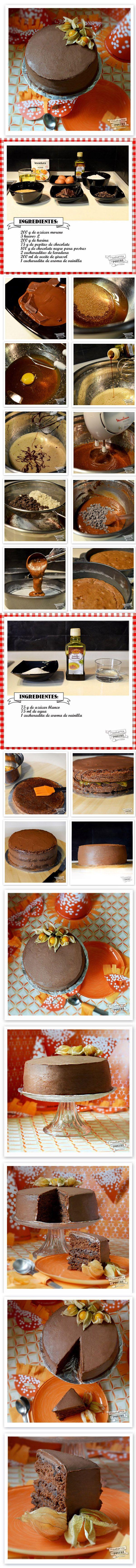 Tarta de naranja y chocolate / http://lacucharitadepostre.blogspot.com.es/