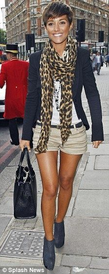 sexy! Short hair, long legs, high heeled muted tone booties and a cheetah scarf?! What could be better!?