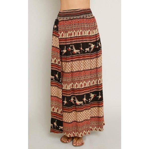 Bohemian Bird Print Maxi Skirt ($17) ❤ liked on Polyvore featuring skirts, brown skirt, maxi skirts, gathered skirt, elastic waist skirt and brown maxi skirt