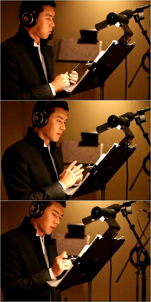 Korean actor Hyun Bin @ a recording studio. Recording a narration for his Samsung Smart TV.