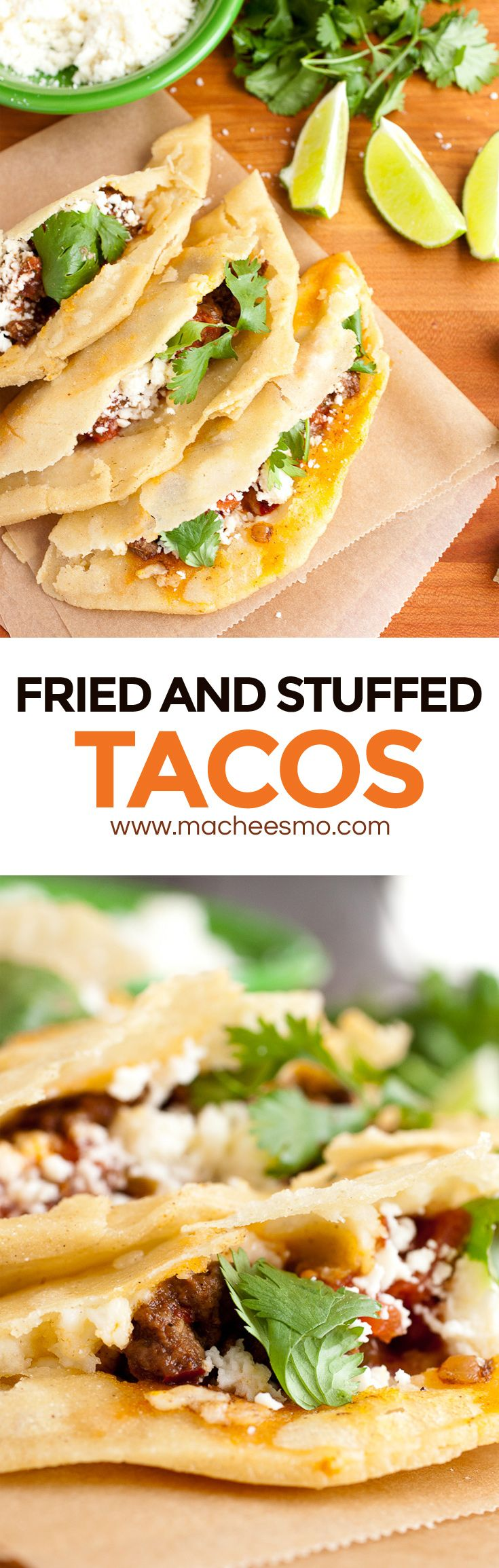 Fried and Stuffed Tacos: Inspired by the delicious Taco Especial at Los Tacos in NYC, this fried and stuffed taco is wonderfully crispy on the outside and stuffed with whatever toppings you can dream up! It's a little work to get it right, but totally worth it! | macheesmo.com