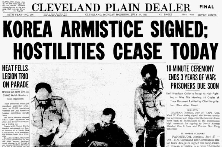 July 27, 1953 – The Korean War ends: The United States, People's Republic of China, North Korea, and South Korea sign an armistice agreement.