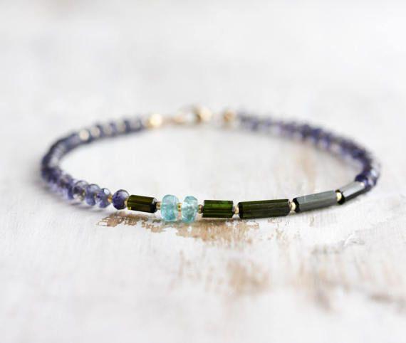 Iolite+armband+met+groene+Toermalijn+kristallen+