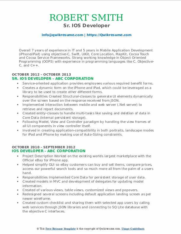 Ios Developer Resume Samples Professional Resume Templates In 2020 Sales Resume Examples Resume Examples Job Resume Samples