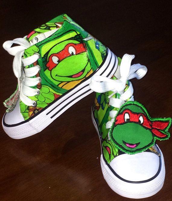 Birthday ninja turtleboys shoe by SwalkerDesigns on Etsy
